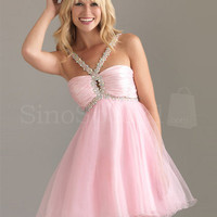 Alluring Beaded Straps Empire Waist Mini Organza Graduation Dress from SinoSpecial