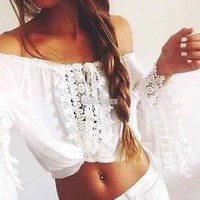 BOHO Women Off Shoulder Long Sleeve Crop Tops Beach Blouse Sexy Shirts T-shirt