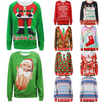 Ugly Christmas Sweater Unisex Men Women Vacation Santa Elf Pullover Funny Womens Men Sweaters Tops Winter Clothing