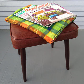 Vintage, Bench, Vanity Stool, Foot Stool, Vinyl, Upholstered, MidCentury, Furniture, Pencil Legs, Brown, Home Decor, RhymeswithDaughter