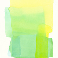 original watercolor painting, modern forms, soft structure in greens and yellow