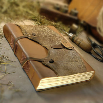"Large Leather Journal Gift for Him Rustic Cowboy Wild West Ranch Journal, Huge Notebook, Diary with Vintage Style Aged Pages - ""The Farrier"""