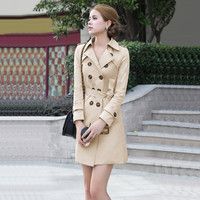 Khaki Notched Collar Double Breasted Bow Waist Trench Coat