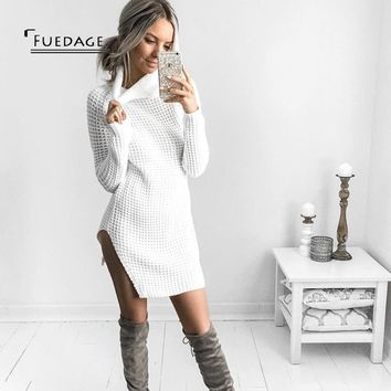 Fuedage Autumn Winter Sweater Dress Women 2017 New Sexy Side Split Mini Dresses Club Party Pullover Turtleneck Vestidos