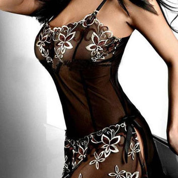 Amazing Women Black Embroidery Sexy Lingerie Dress Lady Print Transparent Nightwear Plus Size L-XXXL