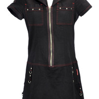 Vintage Tripp NYC Black With Red Stitching Studded Industrial Dress Medium