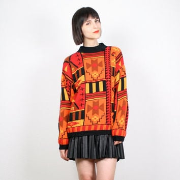 Vintage Orange Red Yellow Black Sweater Southwestern Knit Jumper Navajo South Western Pullover Hand Knit Cozy Chunky Knit M medium L Large