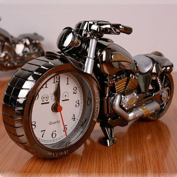 Student's gift birthday gift crafts Motorcycle Alarm Clock (Color Black) = 1946248068