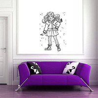 Wall Mural Vinyl Sticker Decal   girl winter coat hair snowflakes DA1064