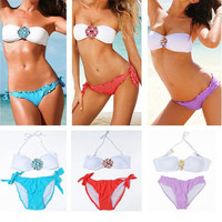 Hot 2pcs Sexy Swimsuit Swimwear Crystal Flowers Padded Removeble Strip Strapless Bikini