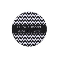 Black and White Chevron Stripe Wedding Candy Tin