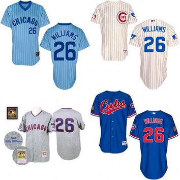 2016 World Series Champions patch Billy Williams baseball Jersey , Men's #26 Mitchell And Ness Chicago Cubs 1942 Turn Back The Clock