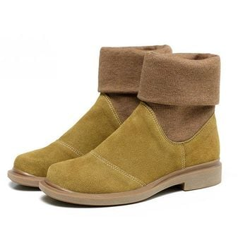 Color Blocking Ankle Genuine Leather Boots For Women