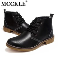 MCCKLE Woman fashion Motorcycle Ankle Boots Genuine Leather lace up vogue Casual Shoe
