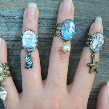 Mermaid charm rings ,PICK a Mermaid midi rings, knuckle rings, mermaid rings