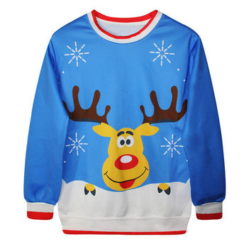 Womens Fashion New Girl Vintage Christmas Cute Tree Pullover Hoddies Jumper Novelty Snowman Lovely