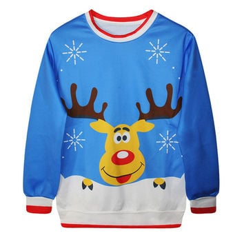 Womens Fashion Lady New Vintage Christmas Cute Tree Pullover Hoddies Jumper Novelty Snowman Lovely Warm