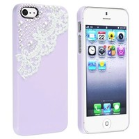 eForCity Snap-on Case Compatible with Apple® iPhone® 5, Purple with Lace and Pearl