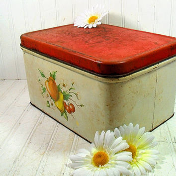 Rustic DecoWare Metal Large Bread Box - Vintage Chippy Paint Red Lid Litho Decorated Bin - Shabby Chic OverSize Kitchen Storage Colorful Tin