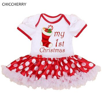 My First Christmas Toddler Girl Clothes Polka Dots One Piece Baby Lace Dress Vestidos Bebe Red Infant Christmas Party Outfits