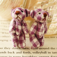 Teddy Bear Doll cab 2pcs  Purple and White Tartan by CharmTape