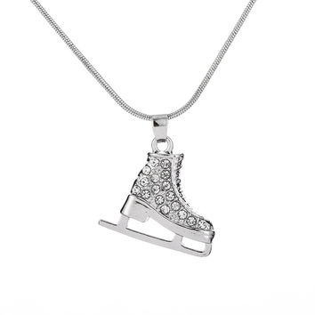 Crystal Ice Skate Necklace