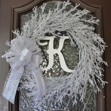 Christmas Wreath, Winter Wreath, Holiday Wreath, Personalized, Snow Wreath, Personalized
