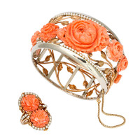 1930s Carved Coral and Pearl Gold Bracelet and Ring.