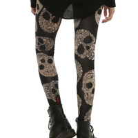 Gem Lace Print Skulls Leggings