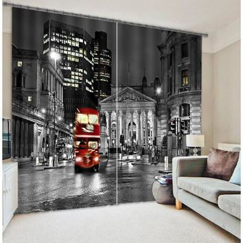 London City Bus Mordern 3D Blackout Window Curtains For Living room Bedding room Hotel/Office Curtain  Drapes Cortinas para sala