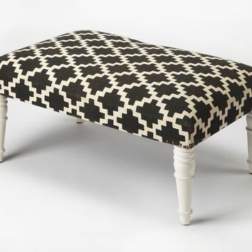 Butler Lucinda Black & White Upholstered Cocktail Ottoman