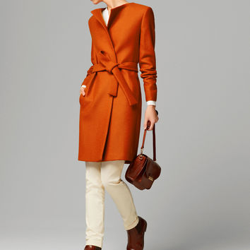 BELTED ORANGE COAT - View all - Coats - WOMEN - United States of America / Estados Unidos de América