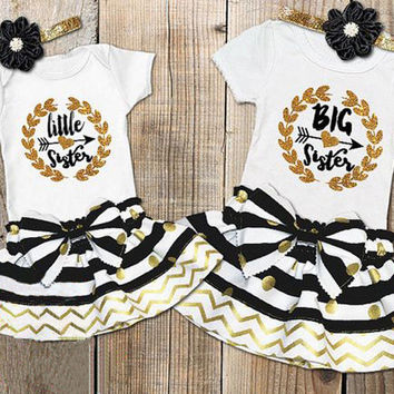 Infant Baby Girls Little Big Sister Matching Clothes Romper T-shirt Dress US