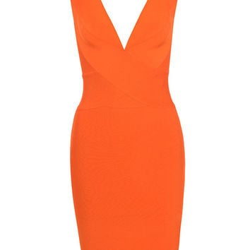 Clothing : Bandage Dresses : 'Ginevra' Orange Cross Front Bandage Dress