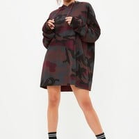 Missguided - Burgundy Camo Hooded Sweat Dress