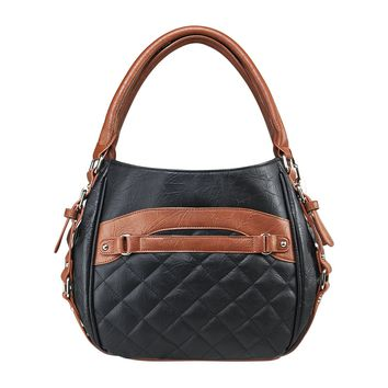 Quilted Hobo Bag w/ a Universal Holster & Snap-button Closure - Black & Brown