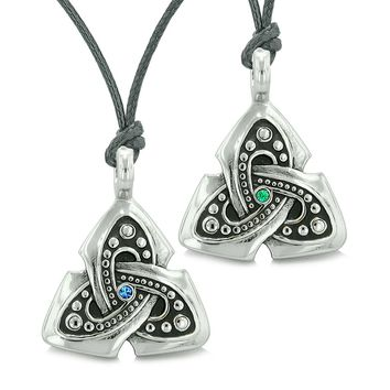 Ancient Viking Celtic Triquetra Knot Amulets Love Couples or Best Friends Green Blue Necklaces