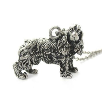 Realistic English Cocker Spaniel Shaped Animal Pendant Necklace in Silver | Jewelry for Dog Lovers