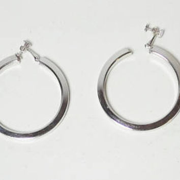 Large Silver Hoop Clip On Earrings, Screw Back, Thick, Silver Tone, Vintage Gypsy Jewelry, Hippie Jewelry, Boho Jewelry, 2 inches wide