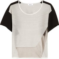 Helmut Lang | Color-block mesh-trimmed cotton-blend top | NET-A-PORTER.COM