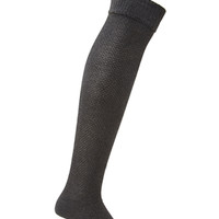 FOREVER 21 Textured Over-The-Knee Socks Charcoal One