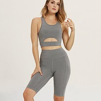 New sleeveless solid color stitching leisure yoga sports top and shorts two piece suit Gray