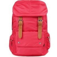 AM Landen Soft Silky Nylon Backpack School Bag Travel Bag(Red)