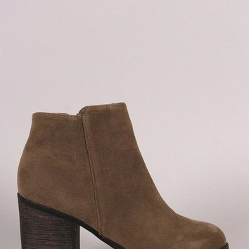 LMFIW1 Bamboo Plain Suede Chunky Heeled Ankle Boots
