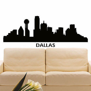 WALL DECAL VINYL STICKER DALLAS SKYLINE CITY SILHOUETTE DECOR SB86