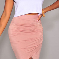 Pink Ruched Tulip Skirt