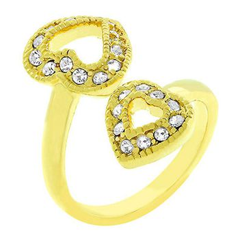 Dual Pave Hearts Ring Size 6