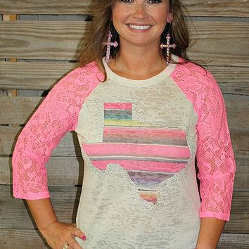 Serape Texas Burnout Baseball Tee with Neon Pink Crochet Sleeves