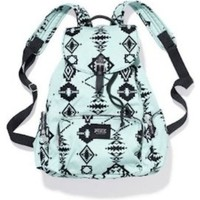 Victoria's Secret PINK School Handbag Backpack Book Bag Tote: Mint Green Aztec