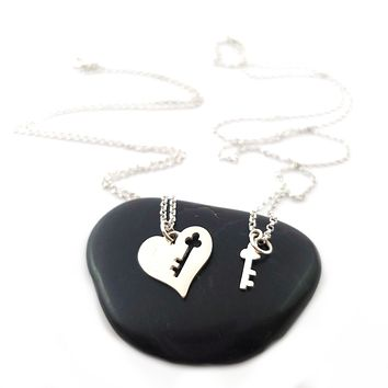 Heart with Key Cutout and Key Necklace - Sterling Silver Jewelry